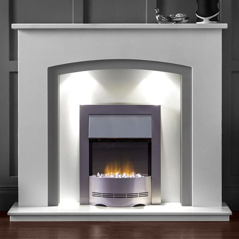 Aurora - Barcelona Marble Fireplace - China White Marble With Sparkly Grey Slips