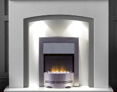 Barcelona Marble Fireplace - China White Marble With Sparkly Grey Slips