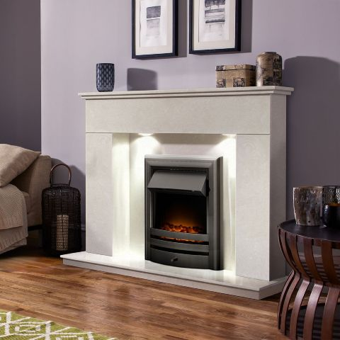 Aurora - Canberra Marble Fireplace - Perola Marble