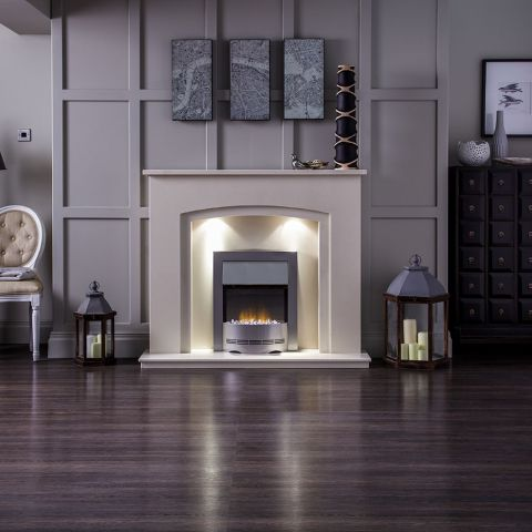 Aurora - Valencia Marble Fireplace - Perola Marble