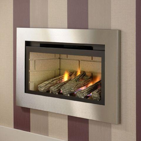 Boston Hole In The Wall Gas Fire - Cream Brick Interior - Logs - Chrome Trim