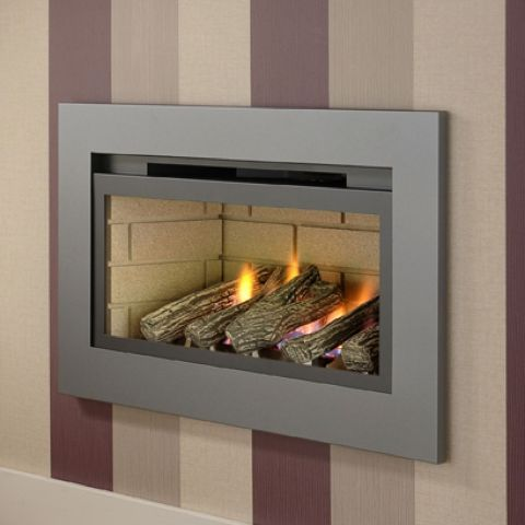 Boston Hole In The Wall Gas Fire - Cream Brick Interior - Logs - Graphite Grey Trim