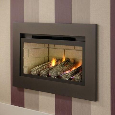 Boston Hole In The Wall Gas Fire - Cream Brick Interior - Logs - Bronze Trim