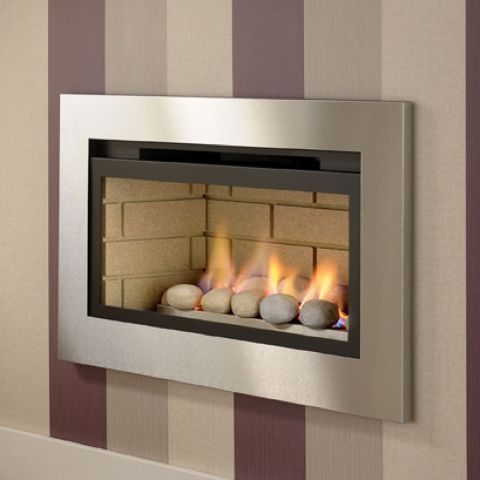 Boston Hole In The Wall Gas Fire - Cream Brick Interior - Pebbles - Brushed Trim