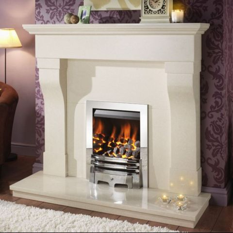 Gem Gas Fire - Coals - Chrome Trim - Grace Fire Front In Chrome - Chrome Inner Sides
