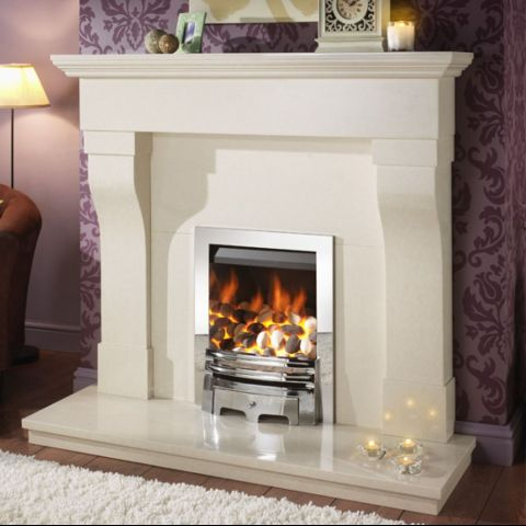 Gem Gas Fire - Pebbles - Chrome Trim - Grace Fire Front In Chrome - Chrome Inner Sides