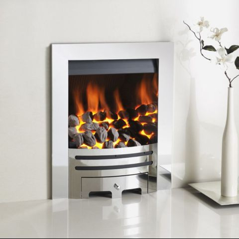 Gem Gas Fire - Coals - Grace Contemporary Fascia In Chrome - Chrome Inner Sides