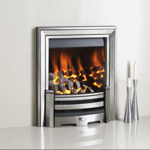 Gem Gas Fire - Coals - Monarch Trim & Fire Front In Polished Cast - Chrome Inner Sides