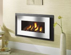 Miami Hole In The Wall Gas Fire - Black Reeded Interior - Logs - Chrome Trim