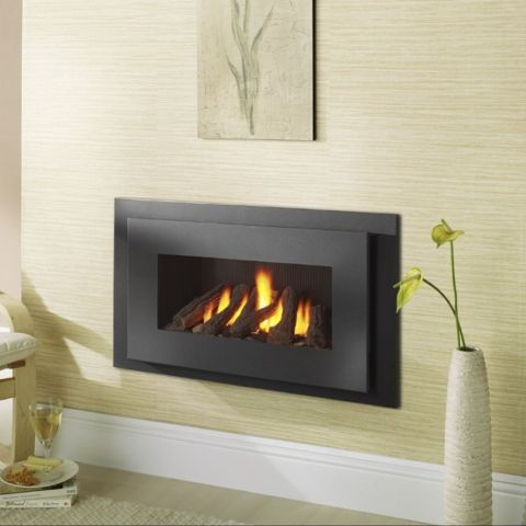 Miami Hole In The Wall Gas Fire - Black Reeded Interior - Logs - Black Trim