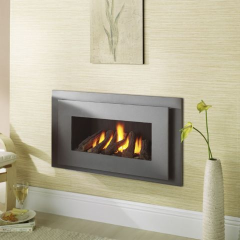 Miami Hole In The Wall Gas Fire - Black Reeded Interior - Logs - Graphite Grey Trim
