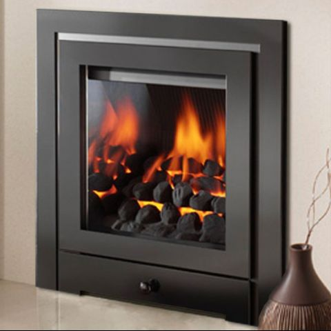 Royale 3 Sided Fascia With Gem Gas Fire - Black Trims - Coals - Chrome Sides Inside Fire