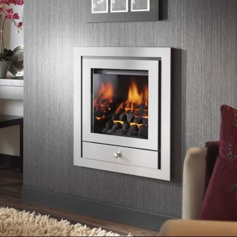 Crystal - Royale 4 Sided Hole In The Wall Fascia With Gem Gas Fire - Chrome Trims - Coals - Chrome Sides Inside Fire