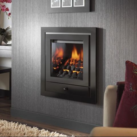 Royale 4 Sided Hole In The Wall Fascia With Gem Gas Fire - Black Trims - Coals - Chrome Sides Inside Fire