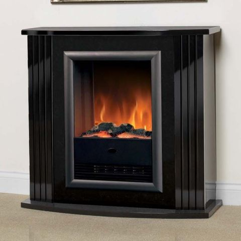 Mozart Electric Suite - Gloss Black With Dark Marble Effect Back Panel