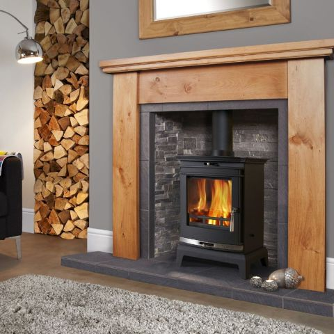 Rochester 5 Multi Fuel Stove - Silver Door Trim