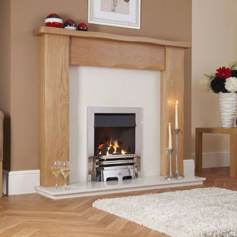 Delamere Plus Gas Fire - Coals - Chrome Trim - Grace Fire Front In Chrome