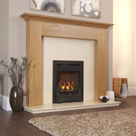 Gosford HE Gas Fire - Coals - Black Trim - Balmoral Fire Front In Black