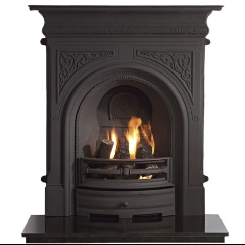 Celtic Combination Cast Iron Fireplace - Black