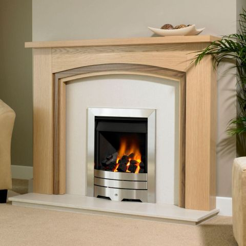 Trent Fireplaces - Newland Fire Surround - Newland Fire Surround - In Clear Oak With American Walnut Inlay