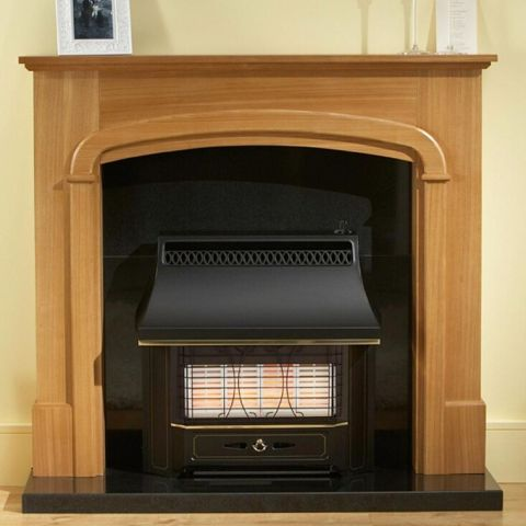 Valor - Black Beauty Radiant Outset Gas Fire - Black Beauty Radiant Outset Gas Fire - Black With Brass Detailing