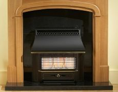 Black Beauty Radiant Outset Gas Fire - Black Beauty Radiant Outset Gas Fire - Black With Brass Detailing