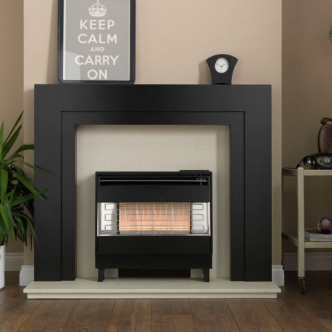 Valor - Firegem Visa Highline Outset Gas Fire - Firegem Visa Highline Outset Gas Fire - Black/Chrome