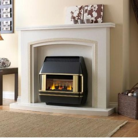 Heartbeat Outset Gas Fire - Heartbeat Outset Gas Fire - Black & Brass
