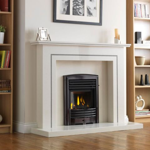 Valor - Petrus Full Depth Homeflame Gas Fire - Petrus Full Depth Homeflame - Black Chrome Finishes With Matt Black Louvres