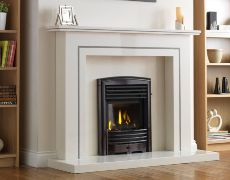 Petrus Full Depth Homeflame Gas Fire - Petrus Full Depth Homeflame - Black Chrome Finishes With Matt Black Louvres