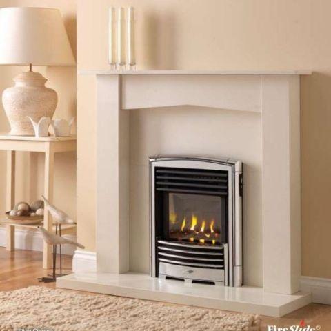 Petrus Slimline Homeflame Gas Fire - Petrus Slimline Homeflame - Silver Chrome