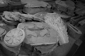 various plaster mouldings on a workbench