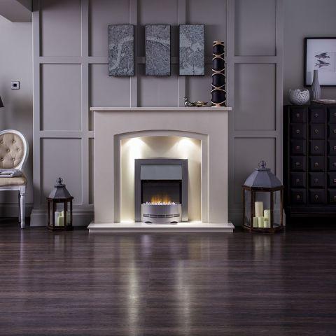 Aurora - Valencia Marble Fireplace - Perola Marble