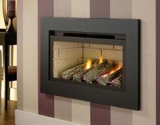 Boston Hole In The Wall Gas Fire - Cream Brick Interior - Logs - Black Trim
