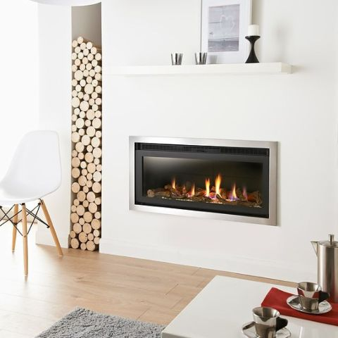 Denver Hole In The Wall Gas Fire - Black Interior - Logs - 4 Sided Trim In Brushed Steel
