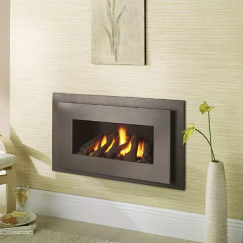 Miami Hole In The Wall Gas Fire - Black Reeded Interior - Logs - Bronze Trim