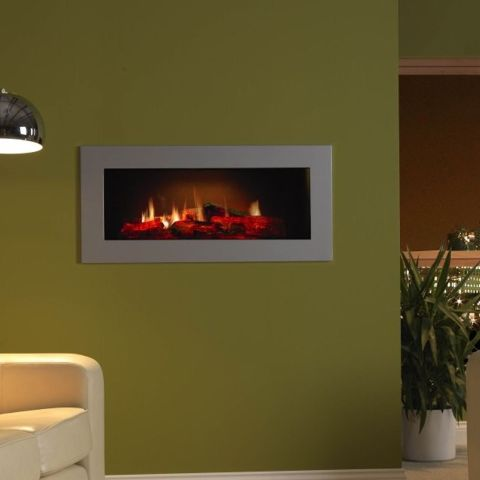 PGF10 Opti-V  Electric Wall Fire - Shown With Optional Graphite Effect Frame